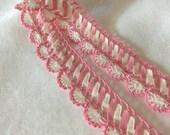 Vintage Pink CANDY CANE  LACE Trim