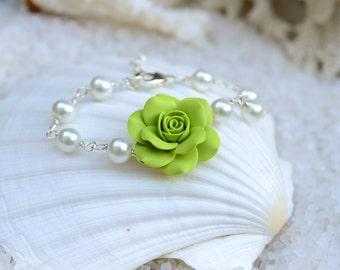Green Shade Rose Bracelets, Green Flower Bracelet, Green Bridesmaid Bracelet