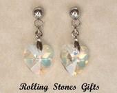 10mm Aurore Boreale Swarovski Crystal Heart Dangle Stud Earrings-Aurore Boreale Swarovski Post Stud Drop Heart Crystal Earrings