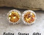 12mm Crystal Brandy Silver swarovski surrounds Rhinestone stud earrings- Swarovski Crystal Surrouds Stud earrings