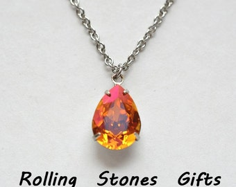 """Astral Pink Necklace, Swarovski Jewelry, 14x10mm Pear, 18"""" Necklace, Surgical Steel Necklace,  Hypoallergenic Necklace, Crystal Necklace"""
