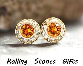 9mm Tangerine & Gold Swarovski Surrounds Rhinestone Stud Earrings-Tangerine Crystal Studs-Orange Rhinestone Studs