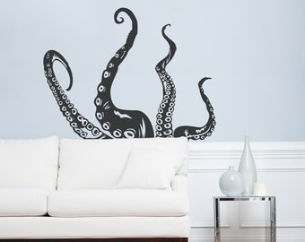 Octopus Tentacles Wall Art Decal - Octopus Decal, Tentacles Decal, Ocean Wall Decal, Nautical Decal, Kraken Decal, Marine Life Wall Art