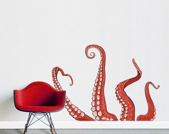 Tentacles Printed Wall Decal - Diesel & Juice Illustrations, Octopus Decal, Tentacles Decal, Ocean Wall Decal, Nautical Decal, Kraken Decal