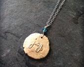Joy necklace bronze handwriting jewelry customizable joy pendant