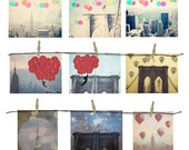 New York City Postcard Set - 9 postcards - discounted artwork - New York Skyline - Wall Art - New York Balloons