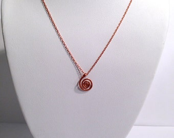 Copper Spiral Necklace - Hammer Textured - Hand Formed - Solid Copper