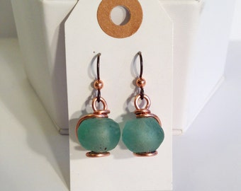Green Glass Bead Earrings - Solid Copper - African Trade Glass - Niobium Hooks