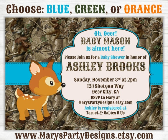 oh deer hunting camo baby shower invitation by maryspartydesigns