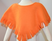 Girl's Fleece Poncho.  Toddlers Poncho in Orange Fleece
