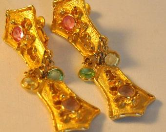 Vintage Goldette Golden Dangle Earrings - Exquisite