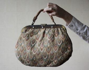 Feather tapestry metal frame purse handbag