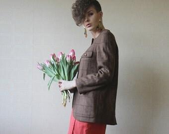 Brown wool EMPORIO ARMANI blazer jacket S M
