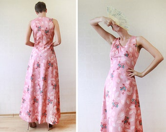 Peach pink floral print sleeveless floor length maxi dress S