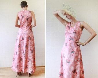 Peach pink floral print sleeveless floor length maxi dress S