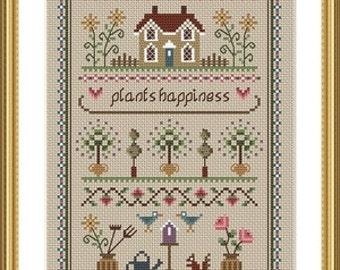 INSTANT DOWNLOAD Garden Sampler Cross Stitch PDF Chart
