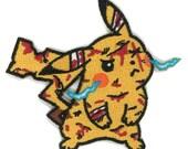 Battle Damage Pikachu Iron-on Patch Pokemon GO charizard jigglypuff Gengar ASH Punk Charmander Cubone Crobat Politoad Weavile Blissey Kirby