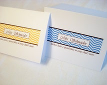20 Personalized Note Cards w/ Envelopes Blank Inside Thank You Cards. Trendy Chevron Pattern. Great Personalized Gift for Teachers.