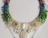 Bead Embroidered Collar - Epona Moon Goddess Protector of Horses Half Past Midnight