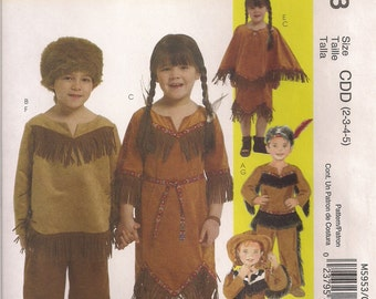 McCall's Costume Sewing Pattern M5953 - Children's Cowboys, Native American Costumes (2-5, 6-8)
