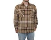Flannel Coat - Grunge Jacket BROWN Light Coat Plaid Outerwear Mens Wool Quilted Padding Warm Lumberjack Medium M Beige Orange Fall Winter