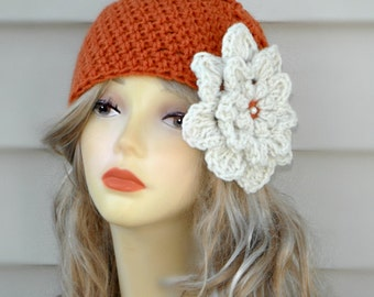 Crochet Hat Womens Hat With Flower Winter Hat Girls Hat Womens Accessories