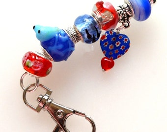 Red & Blue Funky Frog Fob To Hang From Key Ring, Backpack or Briefcase