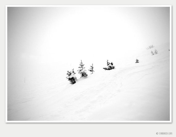 Winter photography - It's so lonely in this fog - dreamy snowy landscape while skiing in Flaine, France