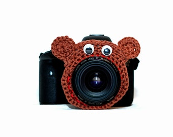Bear Camera Critter, Smiling Bear Camera Buddy with Squeaker,  Bear Squeaky  Lens Buddy,  Bear Lens Photography Prop, Photographer's Gift,