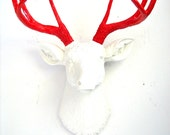 WHITE-RED Faux Taxidermy Deer Head wall mount wall hanging home decor in white head with red antlers / farm house / holiday / kids room