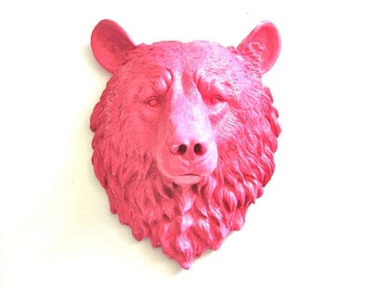 BUBBLE GUM PINK Faux Taxidermy Large Bear Head Animal Wall Mount Wall Hanging Home Decor:  Bob the Bear in bubble gum // kids room // office