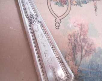 Key Ring Silver Plate Spoon Handle Stamped Affirmation