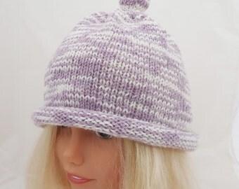 Knitted Children Hat, Bobble Hat, Lavender Hat, Funny Hat, UK Seller