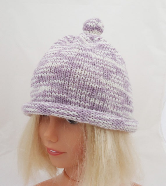 Knitting Funny Hats : Knitted children hat bobble lavender funny uk