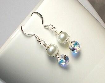 Swarovski Xilion Crystal With White Glass Pearl Wedding Party Dangle Earring Swarovski Crystal Earring White Pearl Earring