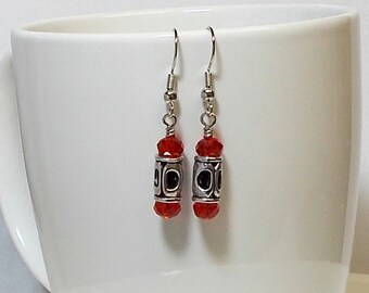 Red Crystal Rondell With Silver Lantern Dangle Earring Red Crystal Earring Silver Earring Drop Earring Dangle Earring