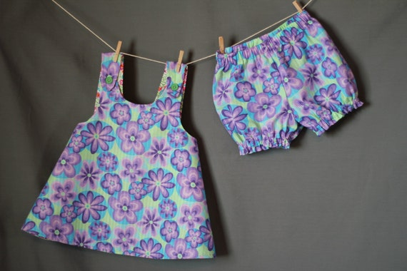 Baby Girl's Pinafore Top and Bloomers Set, 18 to 24 mos, Purple, Green and Blue Floral