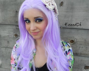 Lavender Light Purple / Long Wavy Lace Front Wig Full Body Curly