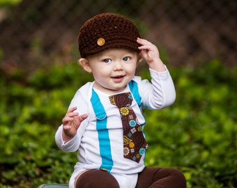 Baby Boy Thanksgiving Tie Bodysuit with Suspenders and Hat set. Harvest Plaid. Newsboy Hat.  Fall Photo Prop, Family Pictures, Tie Bodysuit