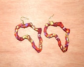 Hollow Map of Africa Earrings -Maroon and Gold