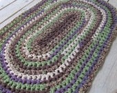 Vineyard Rug Crochet Rag Rug Oval Cotton Washable Soft Handmade Bathmat Kitchen Porch Country Log Cabin Prim Purple Green Homespun