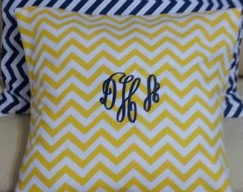 Monogrammed Chevron Pillow Cover