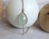 Aquamarine Wire Wrapped Bracelet - Simple Silver Teardrop Gemstone Bracelet -  Birthstone Jewelry