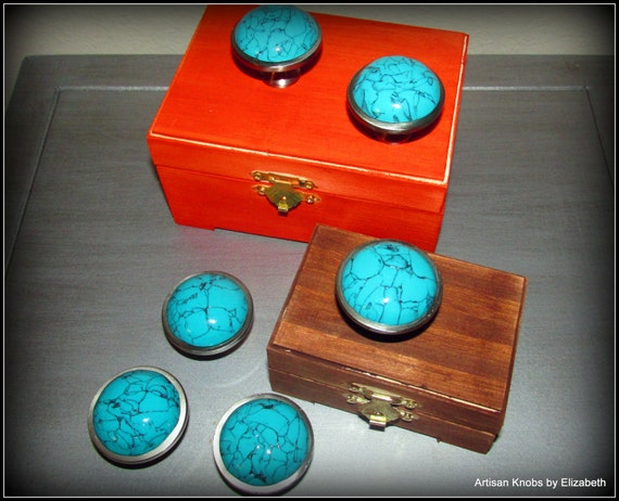 Hand Crafted Polymer Clay Simulated Turquoise Drawer/Cabinet Knobs/Pulls