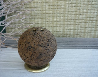 Vintage Cork Sphere Desk Organizer, Mid Century Modern Desk Accessory, Masculine Office Decor