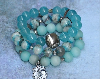 Aqua Blue Beaded Bracelets Set of 3 by Bead Rustic Free Shipping until 2/28/2015