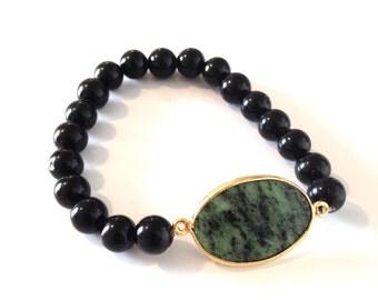 Black and Emerald Gem Bracelet
