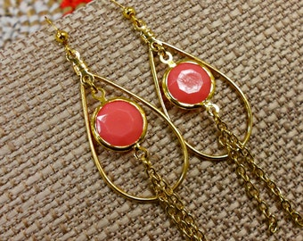 Coral Pink Faceted Brass Tear Drop Earrings