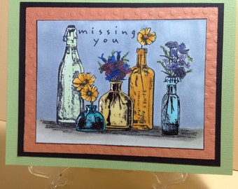 Missing You with Flower Vases Card