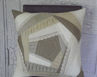 Decorative throw pillow cover organic linen ivory taupe patchwork quilt cushion case 20''x 20''